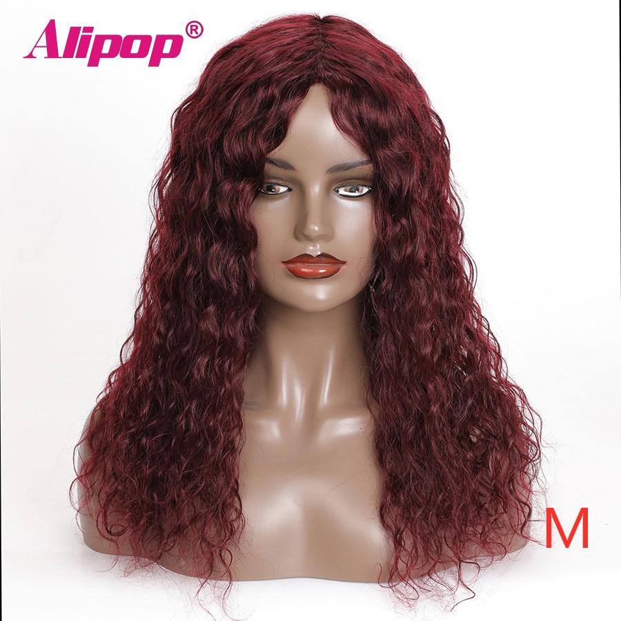 Alipop Peluca de onda de agua, pelucas de cabello humano baratas para mujeres negras # 99J pelucas de colores, peluca completa de Remy brasileño hecha a máquina