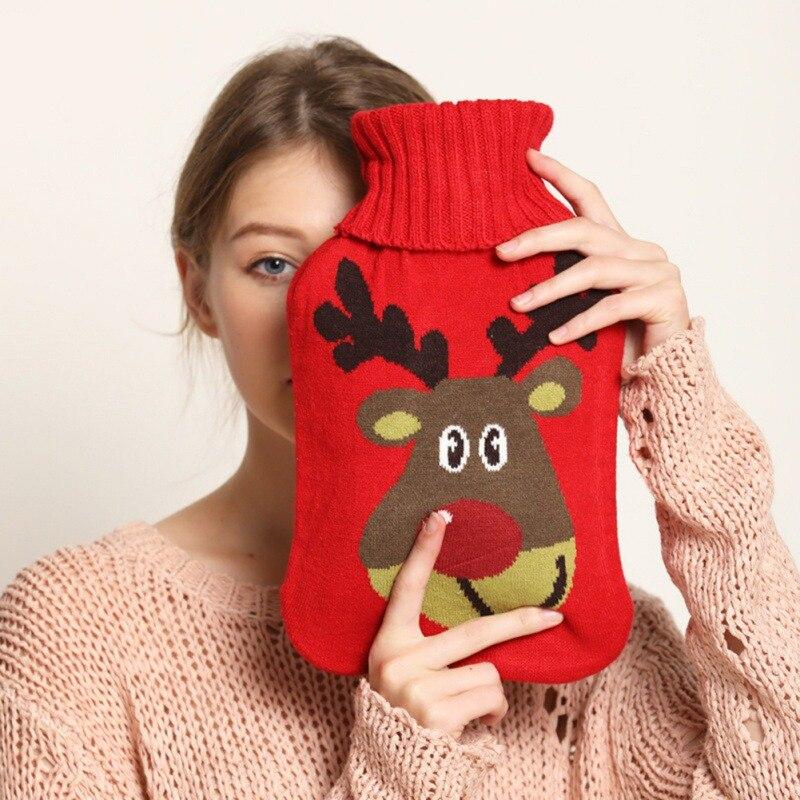 2 litros clásico de goma botella de agua caliente con cubierta de punto lindo patrón de animales de Navidad calentador de mano para chica chico invierno nuevo