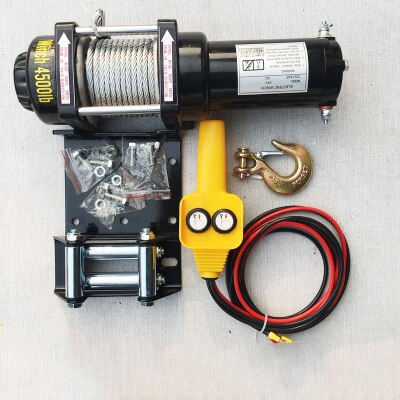 12V24V ATV Motor 4500LB Electric Winch Wire Rope Recycling Winch Traction Cable Traction Kit Outdoor Cross Country Crane