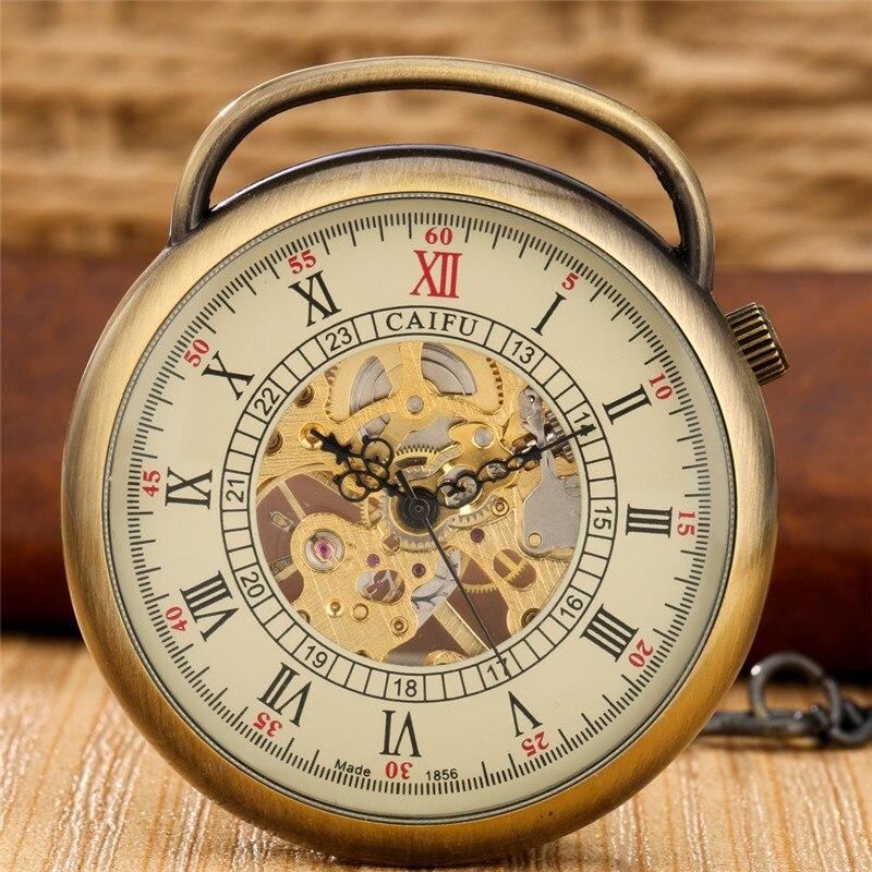 Antique Classical Open Face Pocket Watch Mens Womens Handwinding Mechanical Watches Roman Numeral Clock Pendant Chain Watches