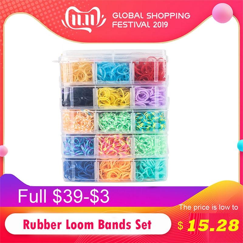 7200pc DIY Toys Rubber Loom Bands Set Kid DIY Bracelet Silicone Rubber Bands Elastic Rainbow Weave Loom Bands Toy Children Goods