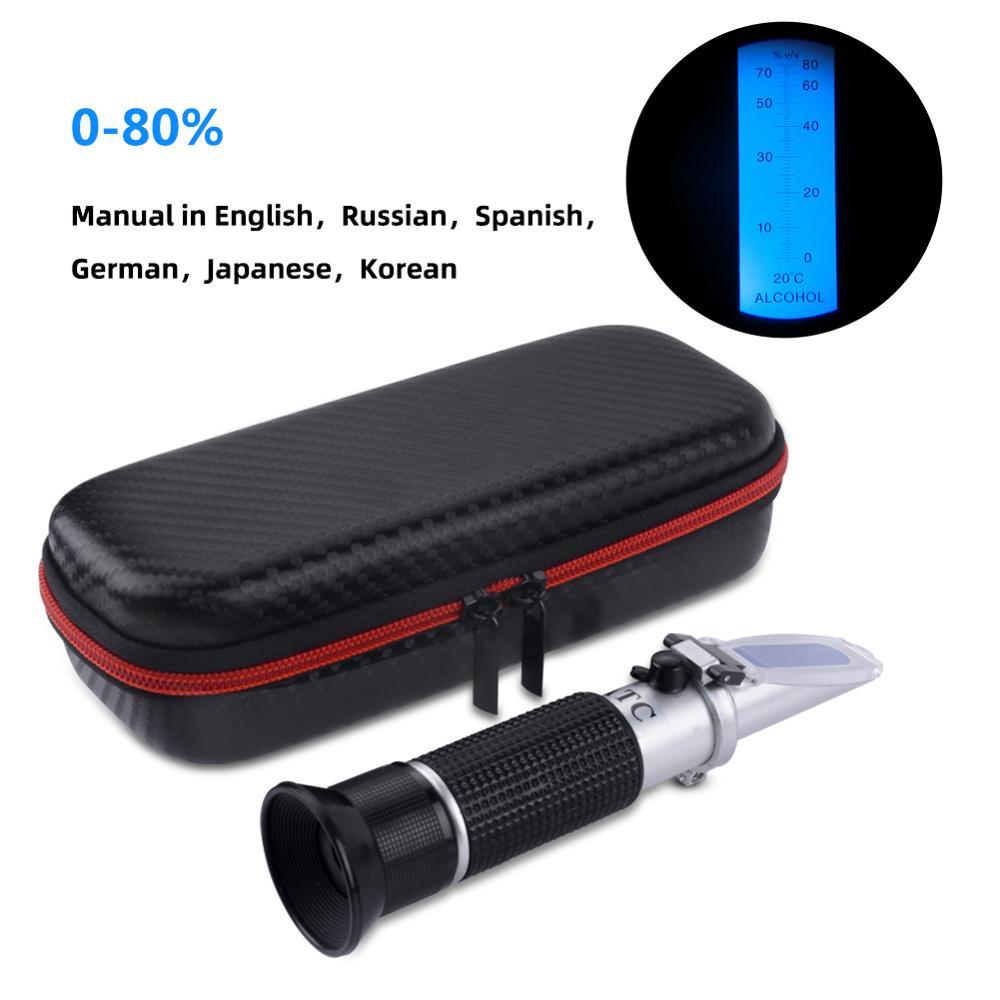 Hand-held 0-80 V/V Alcohol Refractometer Alcohol Concentration Meter Liquor Alcohol Tester with Shockproof Packaging