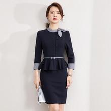 Spring 2021new Women's High-End Business Dress Stewardess Uniform Sales Department Jewelry Shop Work