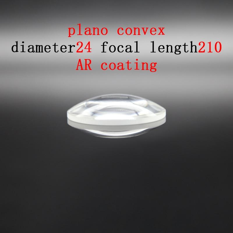 Diameter 24mm Focal Length 210mm Plano-convex Lens Magnifying Optical Glass Lens Prism Processing Plant