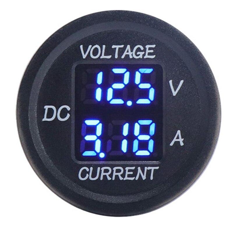 Medidor de Corrente Elétrico da Motocicleta 9v a 48v Led para 12v Digital Voltímetro Amperímetro Tensão Display 24v Carro Azul dc 0-10a