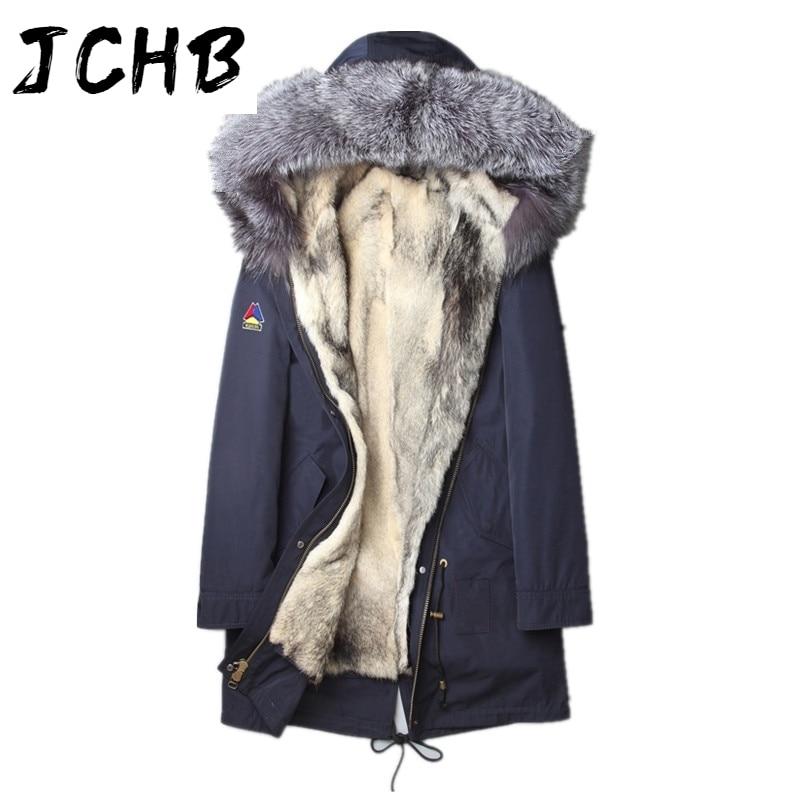 الرجال JCHB الطبيعي الذئب الفراء معطف فراء ثعلب حقيقي طوق سترة الرجال الملابس 2021 طويلة معطف Winterjas Heren L18-3001 MY792