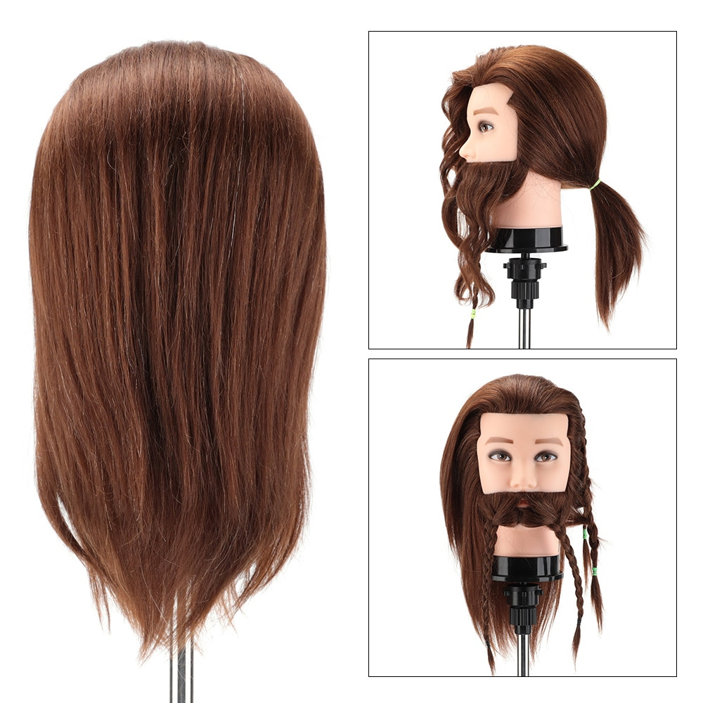 100% Real Human Hair Male  Mannequin Practice Training Head with Beard Barber Hairdressing Manikin Doll Head for Beauty School