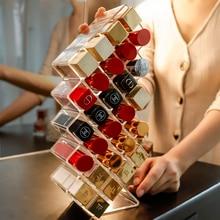 16/28 Lattices Acrylic Lipstick Organizer Standing Makeup Storage Rack Table Lip Gloss Holder Transparent Cosmetics Container