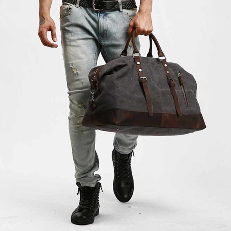 Canvas Leather Men Travel Bags Carry on Luggage Bag Vintage Duffel Bags Handbag Travel Tote Large Weekend Bag
