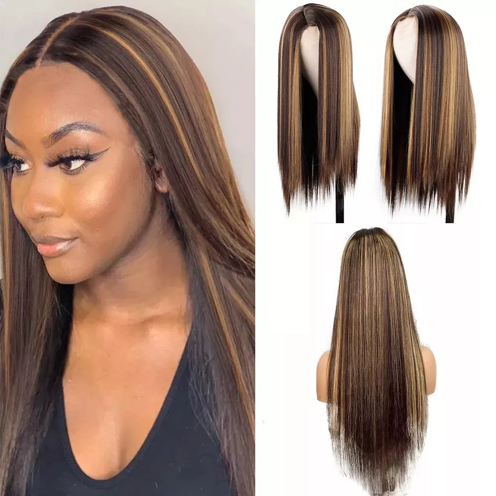 FGY High Gloss Gradient Straight Hair 26 Inch Long Wig Honey Golden Brown Gold With Bangs Ms. Natural Synthetic Cosplay Wig