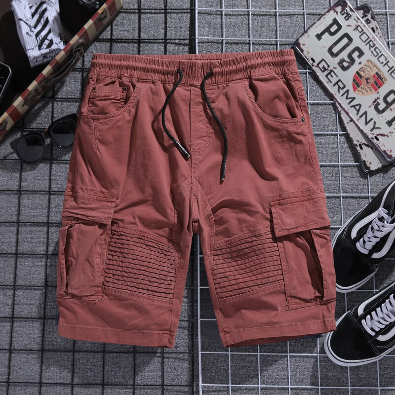 Summer Casual Cargo Shorts Men Cotton Solid Streetwear Mens Knee Length Bermuda Short Pants cargo shorts men