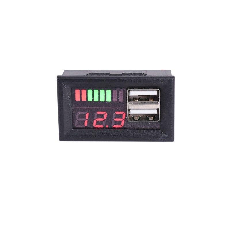 Mini medidor de tensão bateria testador painel display digital led voltímetro para dc 12 v carros motocicletas veículos dupla usb 5v2a saída