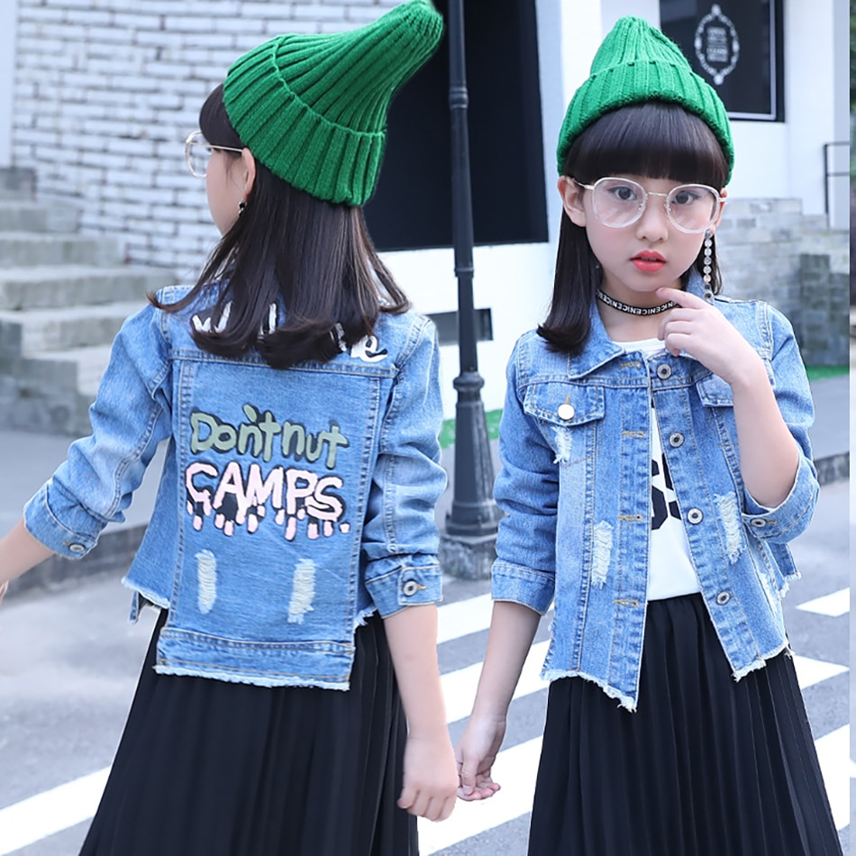 Children Denim Jacket Coat 2021 New Spring Autumn Kids Fashion Outerwear Boys Girls Hole Cartoon Jeans Coat For 3-12Yrs