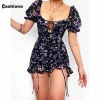 cashiona women bohemian flower print dress short sleeve female casual skinny party dress 2021 summer lace up short dresses femme