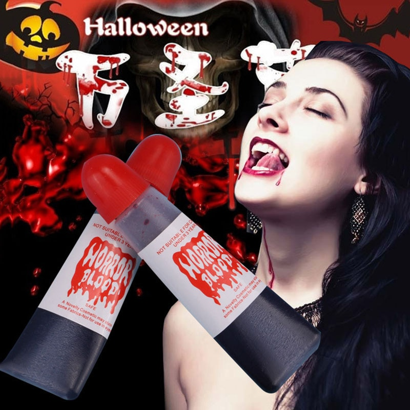 1 pçs halloween popular falso tubo de gel sangue horror fantasia vestido traje festa de halloween piada pintura corporal filme cos adereços brincadeira
