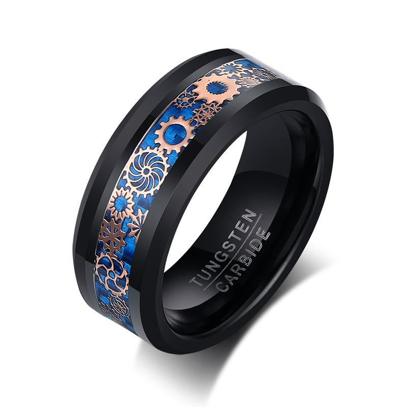 Letapi masculino legal gearwheel anel de carboneto de tungstênio 8 mm preto casamento banda conforto caber eua tamanho masculino jóias