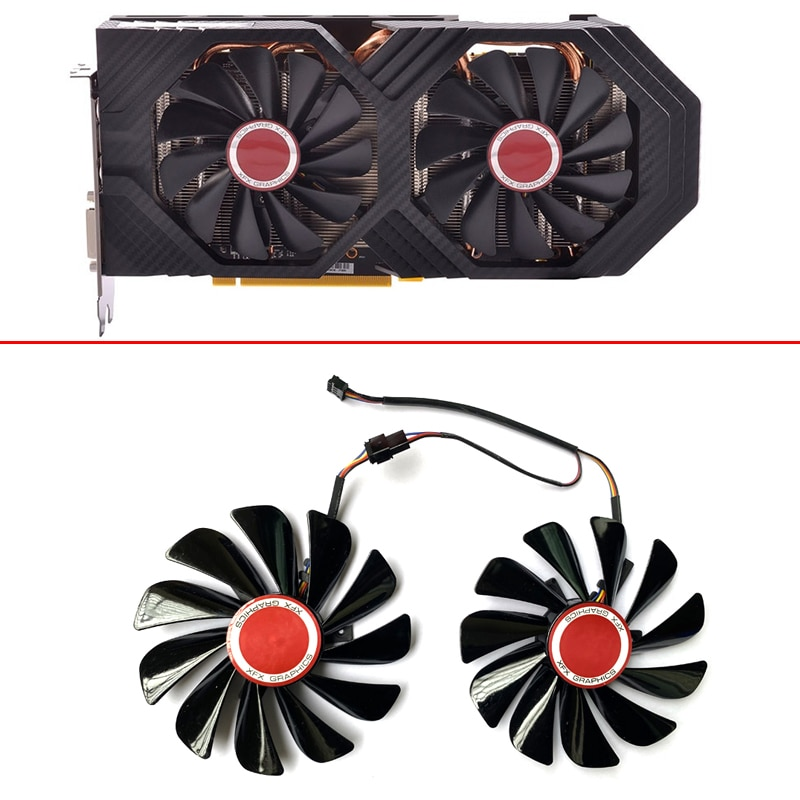 NEW 2PCS 95MM FDC10U12S9-C CF1010U12S 4PIN XFX Radeon RX580 4G Cooling Fans For HIS RX 590 580 570 Graphics Card Video Card Fan