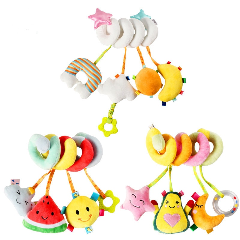 Погремушки детские мобильные мягкие, детские игрушки для малышей 0-12 месяцев, полотенце, Колокольчик для кровати, милые животные, коляска дл...