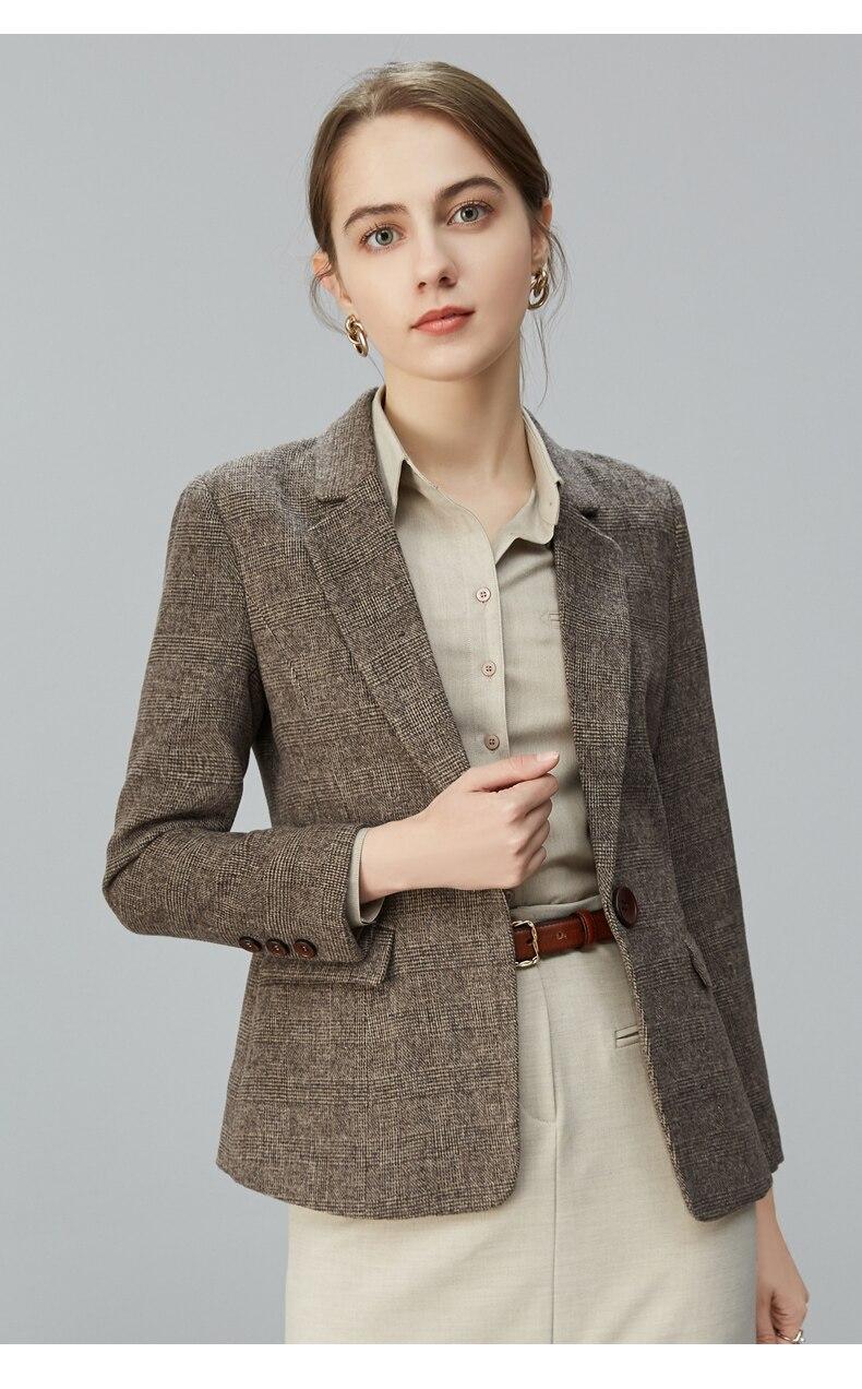 Autumn Winter Casual Suit Women Slim Vintage Striped Lady Blazers Long Sleeve Formal Veste Femme Coat Female Clothing ED50XZ
