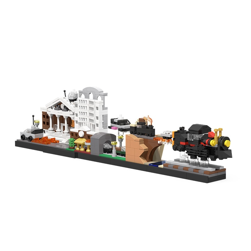 moc 38943 action figure demogorgobed bricks compatible with small building blocks assemble kid s children s toys gifts MOC Magic Architecture Back to the Future Skyline Building Blocks Edifice Bricks Assemble Construct Idea Toys For Children Gifts