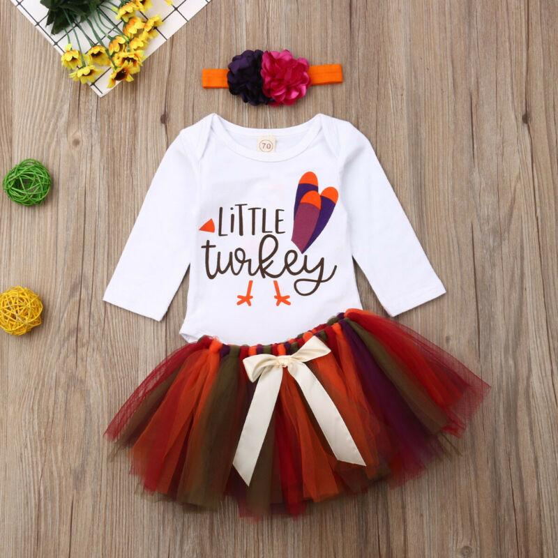 Trajes del Día de Acción de Gracias del bebé recién nacido pequeño mono de pavo + falda tutú + conjunto de ropa de diadema