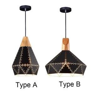 Modern Iron Solid Wood Lamp Led Pendant Lights For Diningroom Cafe Bar Restaurant Nordic Hanging Light
