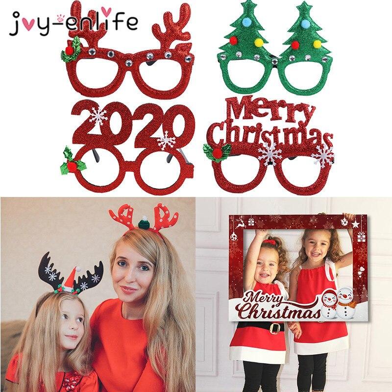 Adornos navideños Feliz Navidad 2020 marco de fotos accesorios Año Nuevo gafas diadema para casa niños regalos de Navidad 2019