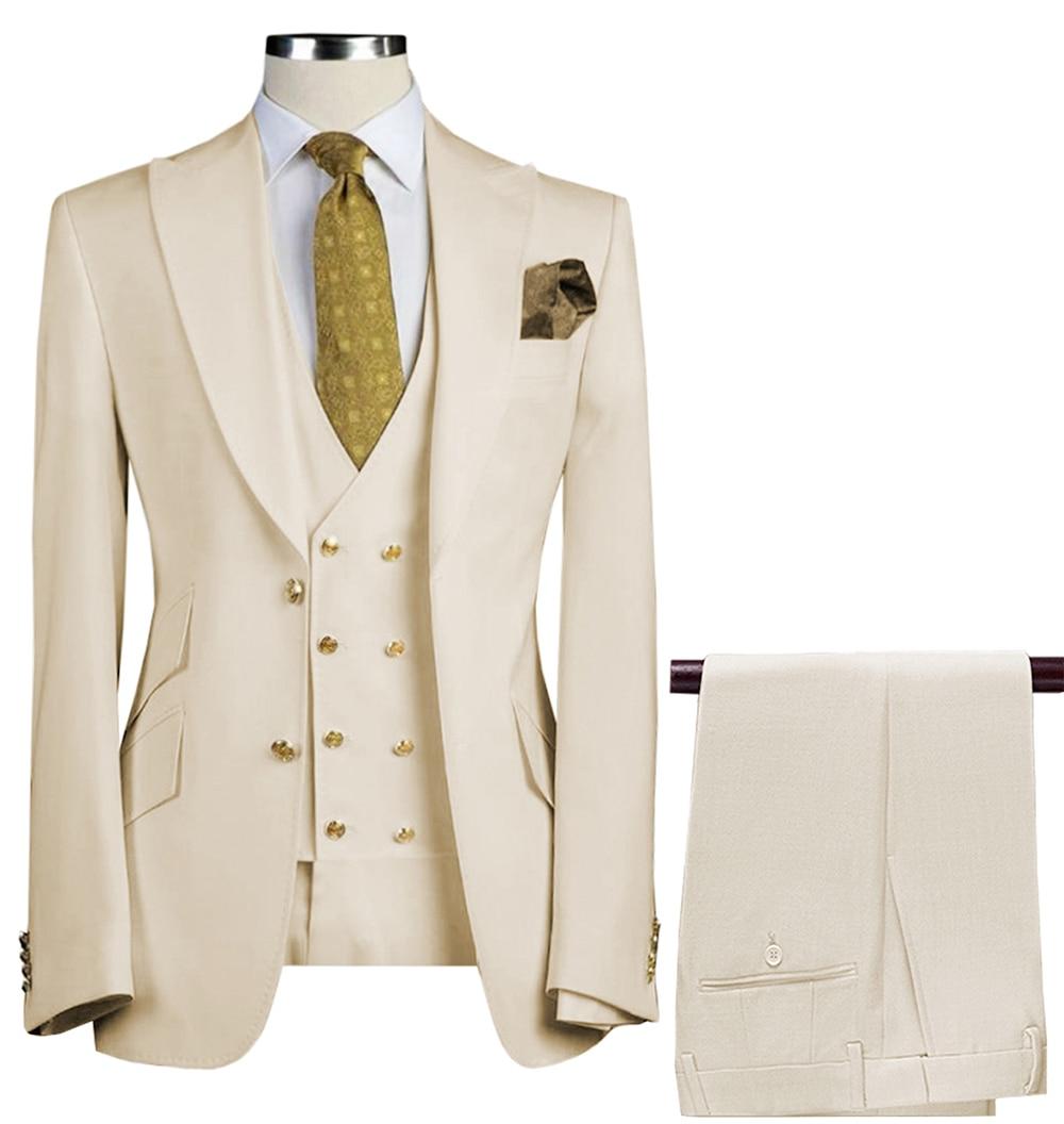 الرجال الدعاوى 3 قطع سليم صالح بدلة عمل العريس الجيش الأخضر نوبل رمادي أبيض البدلات الرسمية الزفاف (السترة + السراويل + سترة)