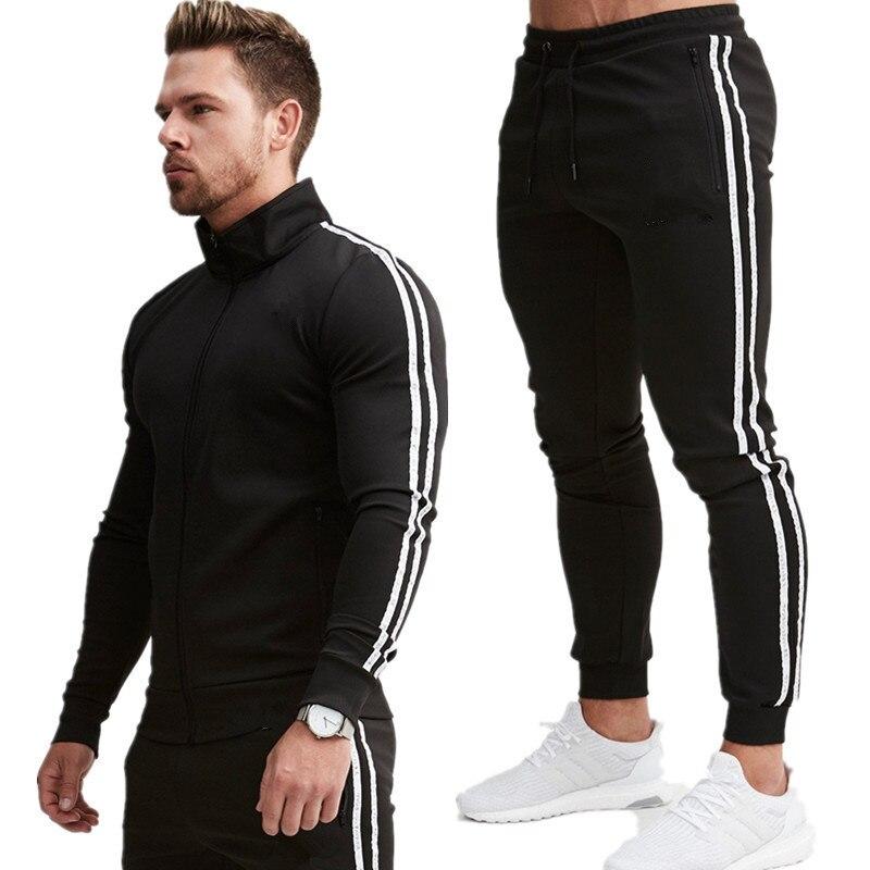 Diy seu logotipo conjunto de homens com capuz com zíper + calças conjuntos de treino masculino casual fino ajuste roupas esportivas masculinas marca suor