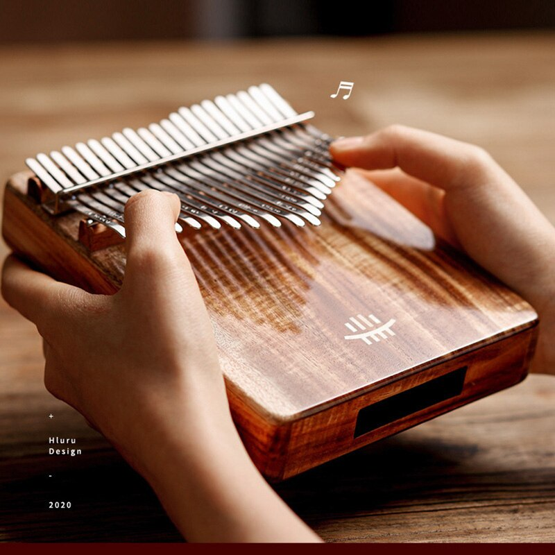 Hluru kalimba 21 teclas polegar piano de madeira gecko profissional kalimba buraco inferior mbira acacia instrumento musical para iniciante