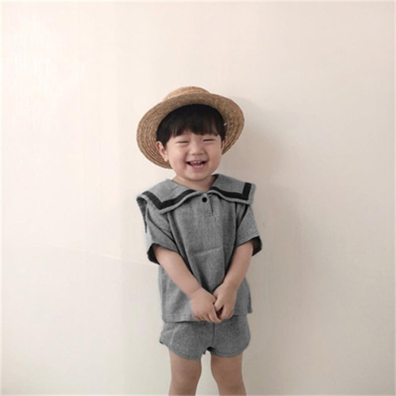2021 summer ins college style navy fashion suit boy girl child toddler clothes