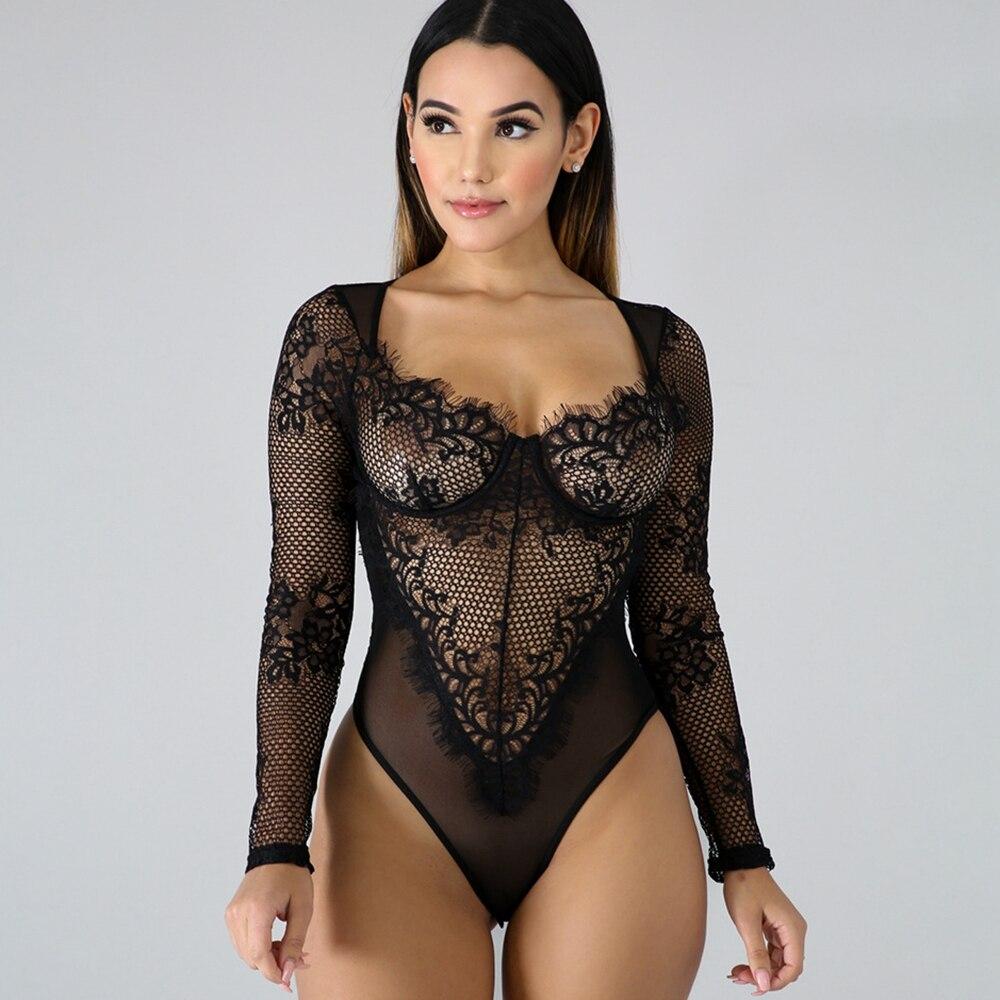 Lingerie sexy conjunto de renda mangas compridas roupa interior feminino ultra fino sutiã de uma peça íntima ver através sexy bodysuit