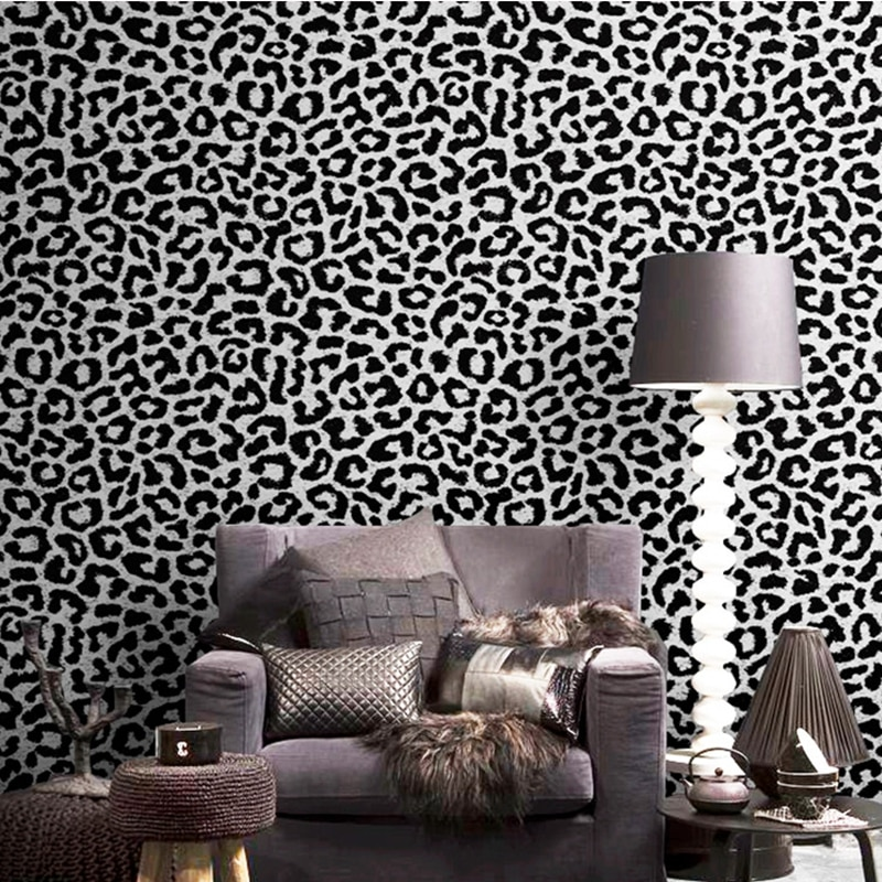 Papel pintado de leopardo negro rosa amarillo azul papel de pared moderno de lujo mujeres dormitorio fondo