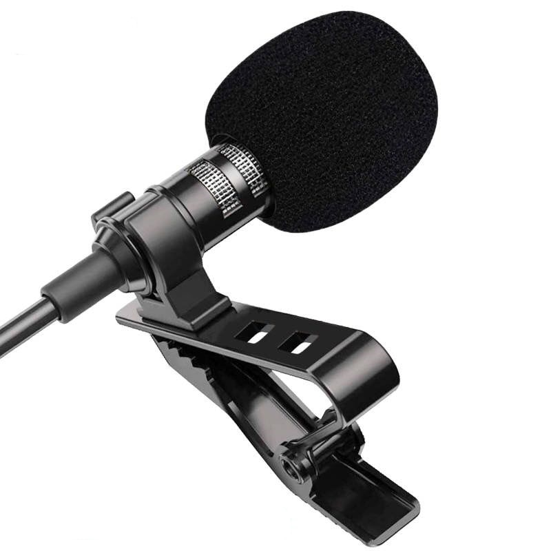 1.5m Mini Portable Lavalier Microphone Condenser Clip-on Lapel Mic Wired Mikrofo/Microfon for Phone for Laptop PC