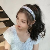 ins french mori girl headband sweet wild plaid floral headband retro temperament starting card hair accessories hair clip