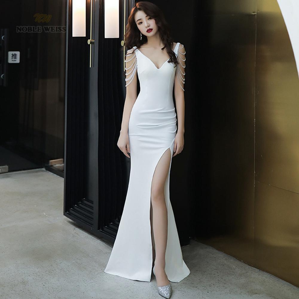 فستان حفلة ساتان مثير ، ياقة على شكل v ، حورية البحر ، طول الأرض ، ثوب كرة رخيص ، فستان سهرة