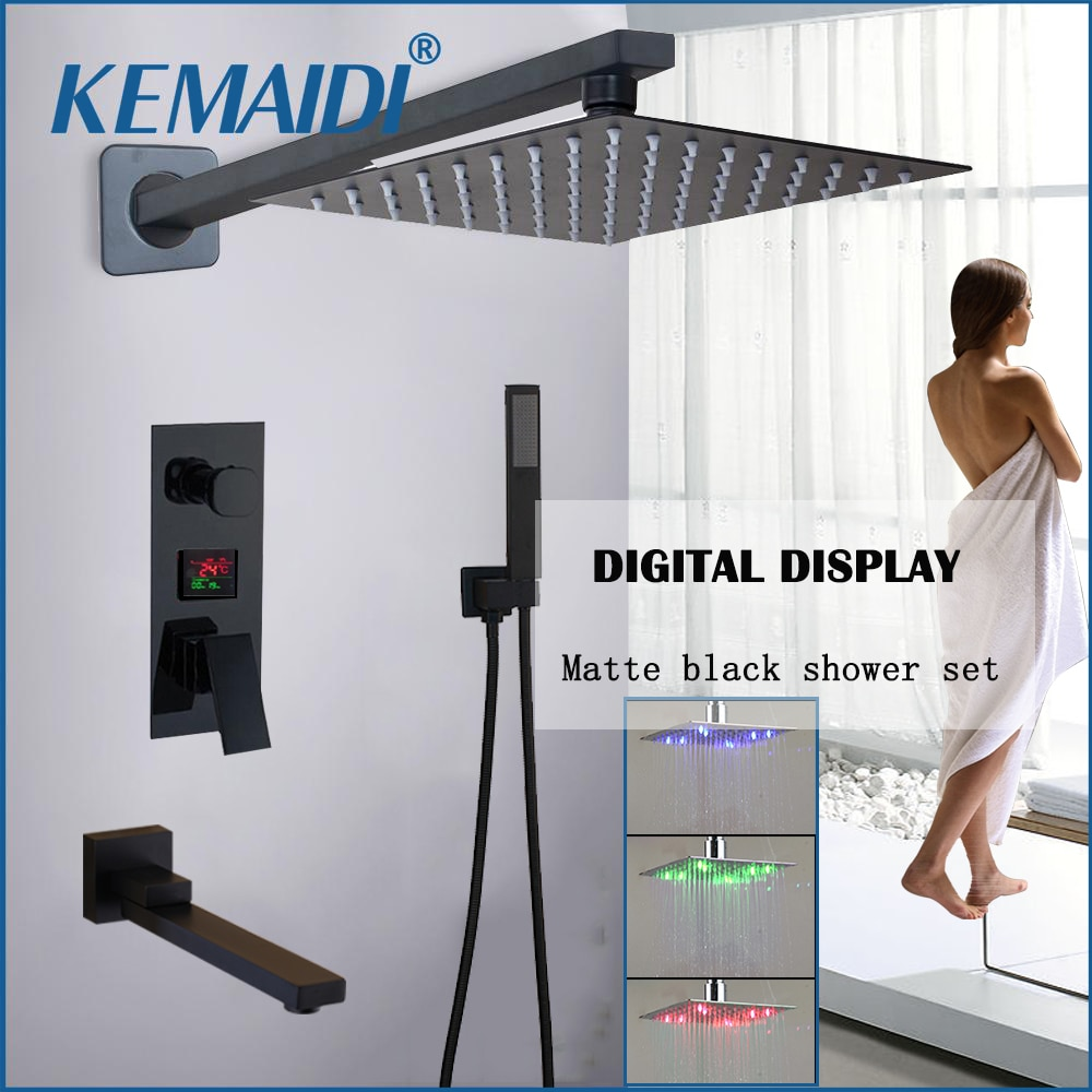 KEMAIDI Matte Black LED Digital Display Shower Faucet Set Rainfall Folding Bathtub Shower System LCD Digital Shower Mixer Tap bakala bathroom led shower set 2 functions led digital display shower mixer concealed shower faucet 8 inch rainfall shower head