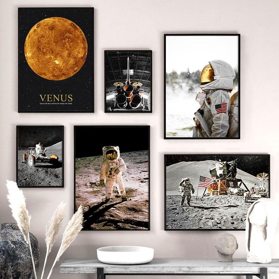 Vênus astronauta foguete céu estrelado arte da parede pintura da lona nordic posters e cópias fotos de parede para sala estar quarto decoração