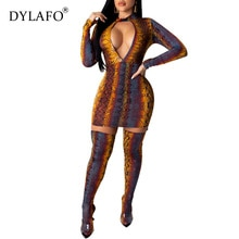 2020 Women Sexy Snake Print Bodycon Dress Vestidos Stand Neck Long Sleeve Sheath Mini Night Club Party Dresses Female Outfits