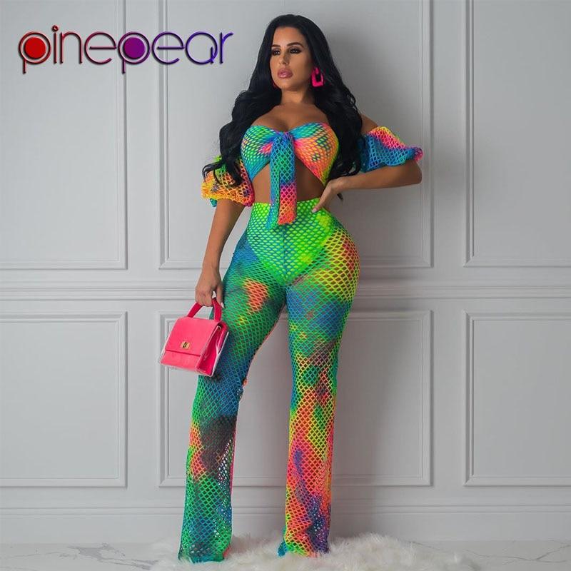 PinePear Colourful Gradient Fishnet Off Shoulder Bow Bra + Pants 2 Piece Swimsuit Women See Through Swimwear Beachwear Wholesale