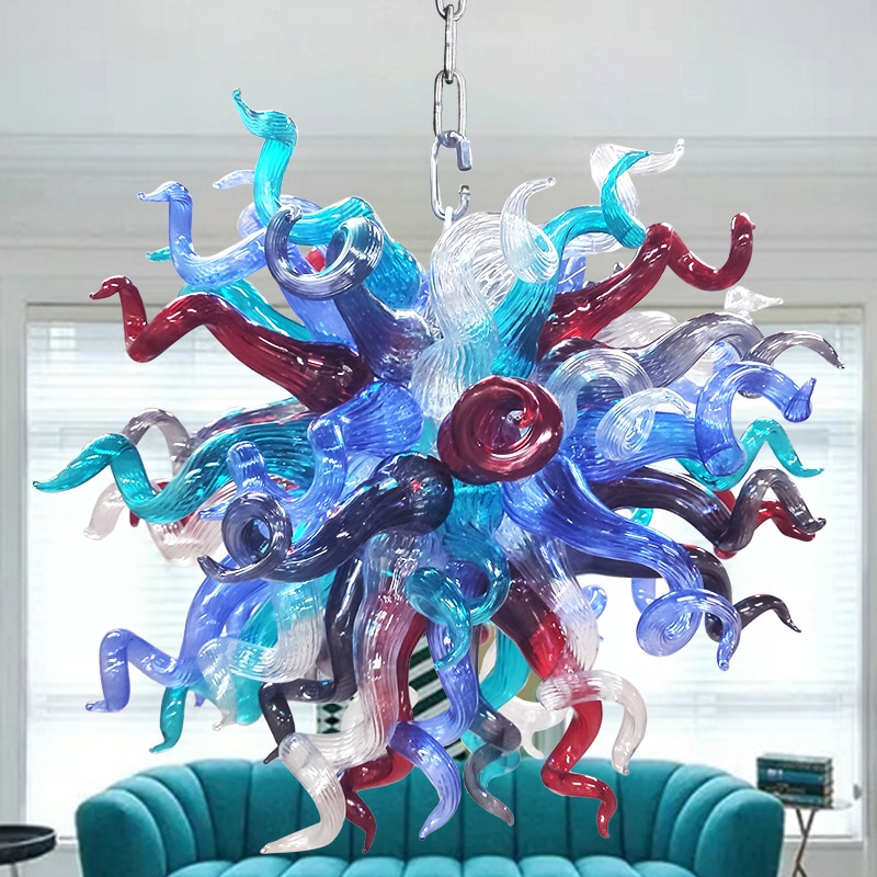 Новые искусственные подвесные лампы, люстры, современная люстра из муранского дутого стекла ручной работы, освещение, декор для гостиной