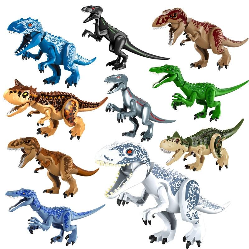 Jurassic Building Blocks Dinosaurs Figures Bricks Tyrannosaurus Rex Indominus Rex I-Rex Assemble Kids Toys недорого