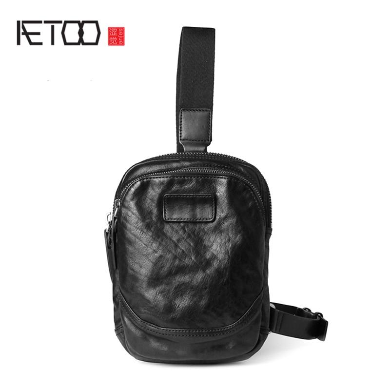 AETOO حقيبة صدر صغيرة ، حقيبة جلدية صغيرة للرجال ، حقيبة كتف جلدية عادية ، حقيبة صدر للرجال