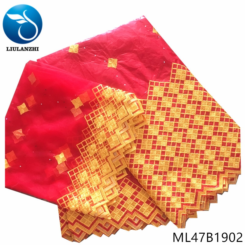 LIULANZHI, telas de encaje africanas, tela roja bazin riche, superventas, 7 yardas, bordado bazin riche getzner para vestido de boda ML47B19