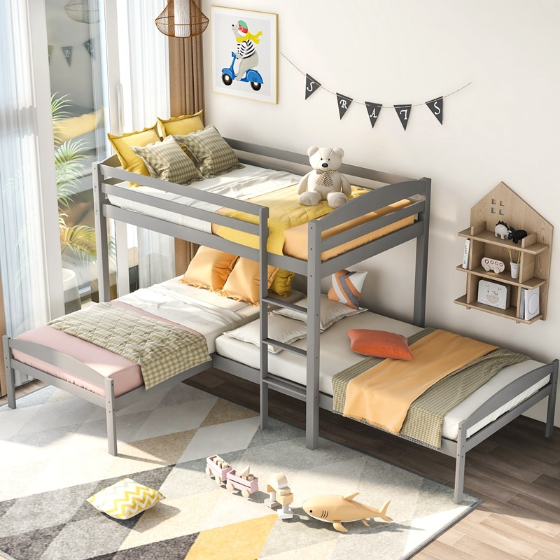 Twin Over Twin Over Twin Bed, L-shaped Bunk Bed, Pine Wood Bed Frame for Kids and Teens, Gray