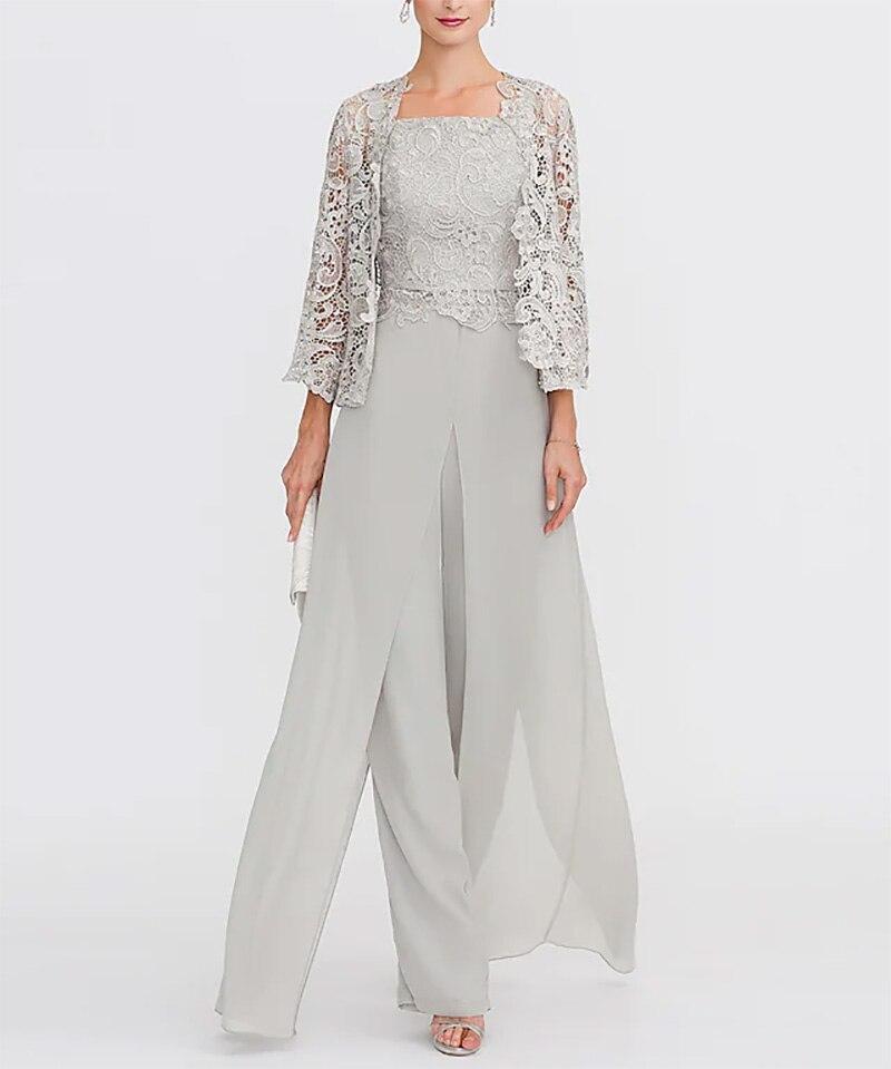 Pantsuit/بذلة أم فستان عروس مقاس كبير أنيق رقبة مربعة طول الأرض شيفون دانتلة مضلعة بدون أكمام مع لاك