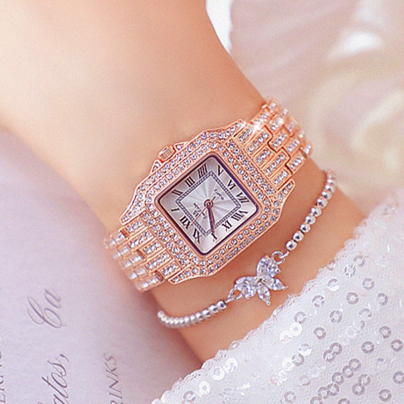 Beauty Diamond Watch For Women Quartz Analog Luxury Watch Rose Gold Watch Quartz Clock 2021 Relogio