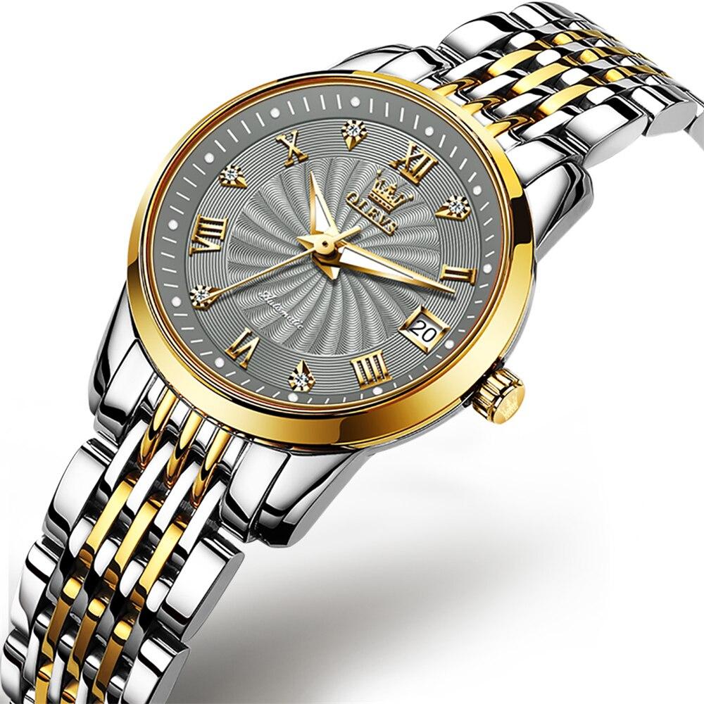 OLEVS Women Automatic Watch Top Brand Luxury Fashion Ladies Watches Waterproof Classic Date Women Me