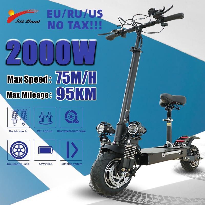 Jueshuai-Patinete Eléctrico de doble Motor para Adulto, 2600W, 100KM, neumático plegable de...