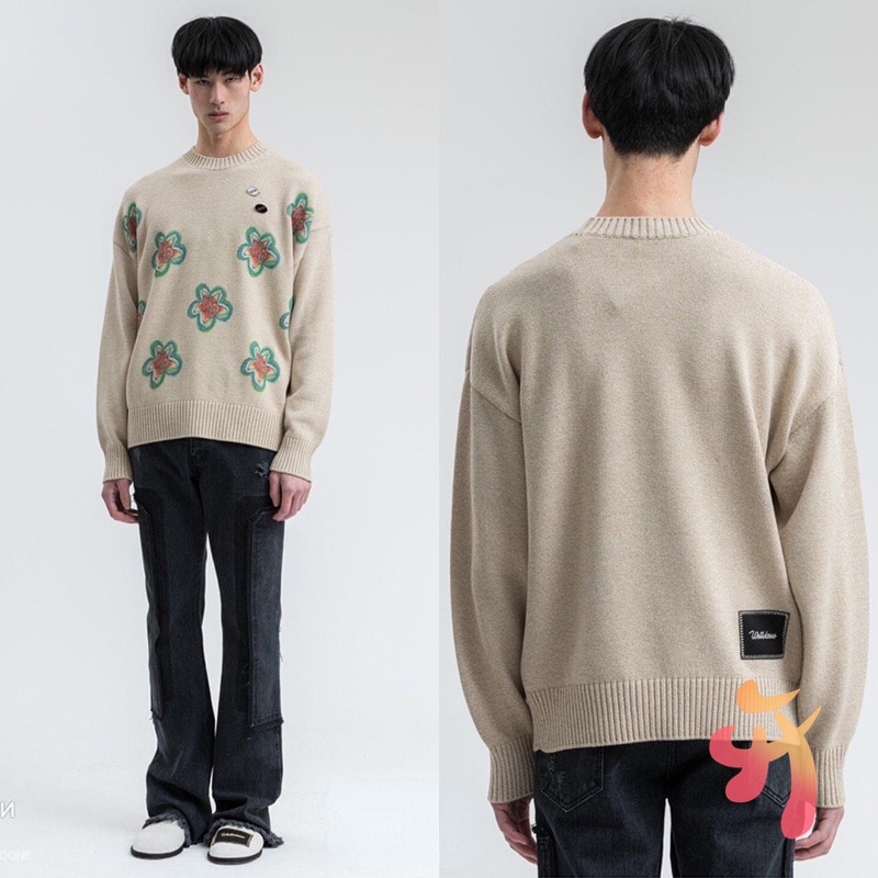 We11done Sweater Autumn Winter New Graffiti Flower Pullover Sweater Welldone High Street Fashion Sweater enlarge